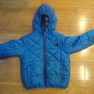 The North Face Blue Quilt Hood Coat Reversible XS